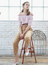 stripe off-shoulder TP