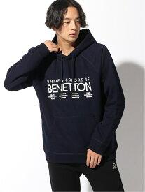 BENETTON (UNITED COLORS OF BENETTON) (M)ロゴグラフィックパーカー ベネトン(ユナイテッド カラーズ オブ ベネトン) カットソー パーカー ネイビー ブラック【送料無料】