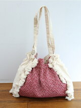 Herringbone fringe 2way tote