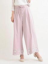 裾刺繍スカラップパンツ