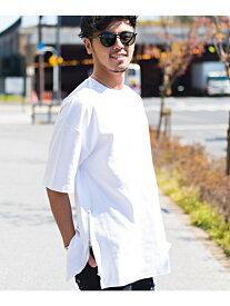 CavariA CavariAサイドジップ綿ポンチビッグTシャツ シルバーバレット カットソー
