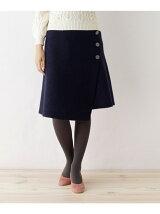 ラップボタンウールスカート