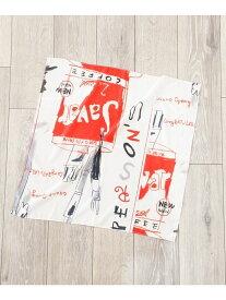 【SALE/50%OFF】PERSON'S 別注プリントスカーフ ナノユニバース ファッショングッズ スカーフ/バンダナ ホワイト オレンジ