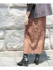 KBF KBF+製品染めレーススカート ケービーエフ スカート スカートその他 ブラウン ベージュ【送料無料】