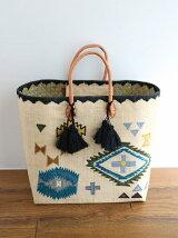 Raffia patchwork tote