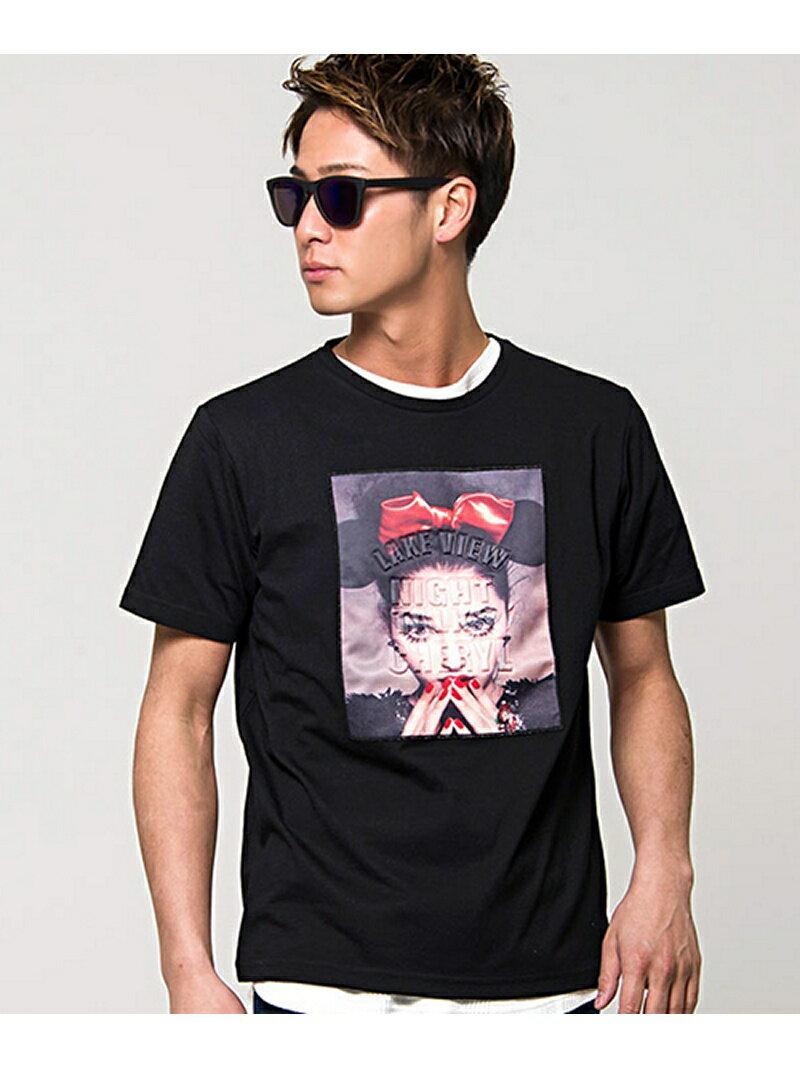 CavariA CavariAエンボス加工ガールズフォトプリントクルーネック半袖Tシャツ シルバーバレット カットソー
