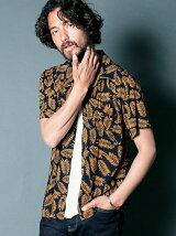 LEAF PRINT OPEN/C SHIRTS S/S