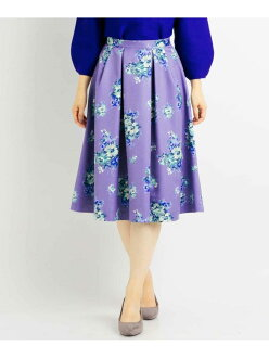 OFUON bouquet flower print flared skirt off ounce cart skirt and others purple gray