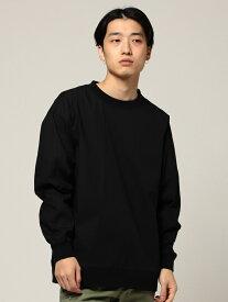 【SALE/40%OFF】BEAMS MEN BEAMS / ウーブン ブロード クルーネック Tシャツ ビームス メン カットソー Tシャツ ブラック カーキ ベージュ【送料無料】