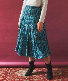 Viaggio Blu パイソンプリントフレアスカート ビアッジョブルー スカート スカートその他 ブルー ブラウン【送料無料】