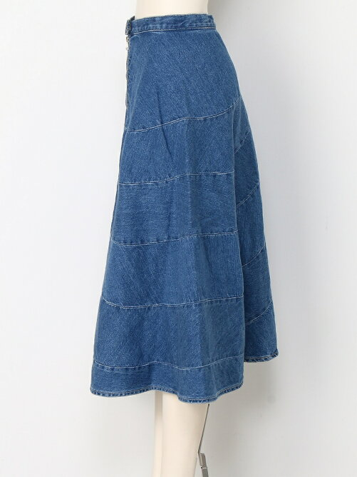 SPIRAL DENIM SKIRT