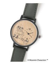 【SALE/57%OFF】studio CLIP ウッドラウンドウォッチ〔ムーミンコラボ〕 スタディオクリップ ファッショングッズ 腕時計 カーキ グレー ブラック レッド