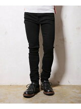 SUPER STRETCH BLACK DENIM / OVERDYED SKINNY PANTS