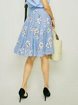 花柄プリントレーススカート