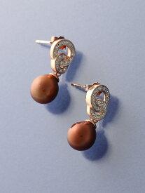 AMOUR Jewelry ダイヤモンド(0.1ct)&ブラウンパールピアス アムール ジュエリー アクセサリー【送料無料】