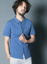 DENIM LIKE TUCK STITCH CUT SHIRTS S/S