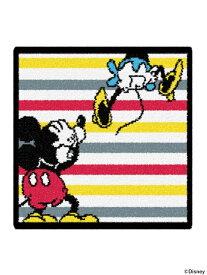 BEAMS MEN FEILER × BEAMS / 別注 ミッキーマウス ボーダー タオルハンカチ フェイラー ビームス Disney ディズニー 限定 キャラクター ミニーマウス プレゼント ギフト ビームス メン ファッショングッズ ハンカチ/タオル ブラック