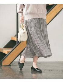 GLOBAL WORK (W)シャイニープリーツスカート グローバルワーク スカート プリーツスカート/ギャザースカート グレー ブルー【送料無料】