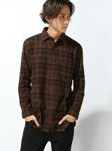 (M)ネルチェックロングシャツ