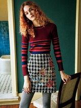 ツイード刺繍台形スカート