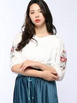 袖チュール刺繍七分袖プルオーバーカットソー