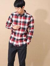 Men's 長袖ブロックチェックレギュラーシャツ