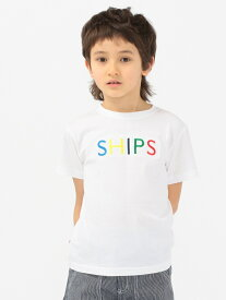SHIPS KIDS SHIPS KIDS:<ファミリーおそろい>SHIPS ロゴ TEE(100~160cm) シップス カットソー Tシャツ ホワイト ピンク グリーン ネイビー パープル