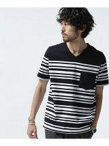 //パネルボーダーVネックTシャツ