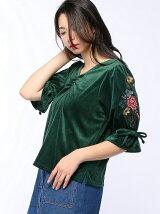袖刺繍ベロアプルオーバーカットソー