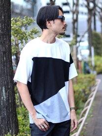 【SALE/50%OFF】UNION STATION パネル切り替えデザインTシャツ メンズ ビギ カットソー Tシャツ ブラック ネイビー