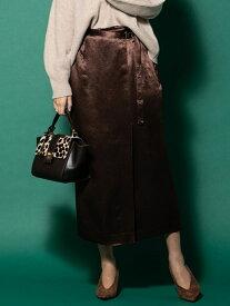 【SALE/73%OFF】VICKY サテンラップスカート ビッキー スカート ロングスカート ブラウン グリーン【送料無料】