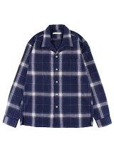 Men's オンブレーチェック長袖オープンカラーシャツ