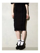 BI-COLLAR TRIMMED KNIT SKIRT