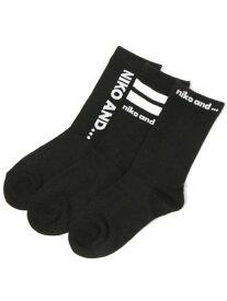 【SALE/30%OFF】niko and... (W)ORNKロゴ3SETソックス ニコアンド ファッショングッズ ソックス/靴下 ブラック ホワイト