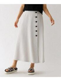 【SALE/58%OFF】aquagirl ドライタッチボタンラップスカート アクアガール スカート ロングスカート グレー ブラウン ネイビー【送料無料】