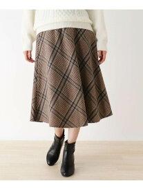 【SALE/44%OFF】SHOO・LA・RUE 【M-L/ベルト付】シャギ-チェックスカート シューラルー スカート ロングスカート ブラック ベージュ ネイビー