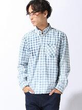 (M)インデゴブロックチェック長袖シャツ