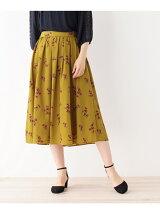 花柄デシンミディ丈スカート