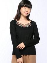 S・デコルテシアー刺繍リフ長袖