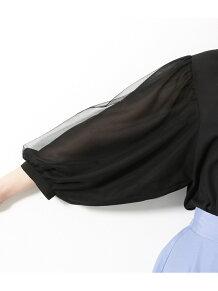 チュールバルーン袖ブラウス