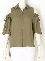 肩開きバルーン袖シャツ