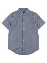Men's ドビーストライプ 半袖ボタンダウンシャツ