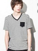 AKM Contemporary/ ポケット付パイルボーダーTシャツ