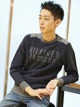 (M)バイカラークルーネックセーター