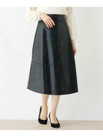 grove FURRYRATEデザイン切替フェイクレザースカート グローブ スカート スカートその他 ブラック ブラウン【送料無料】