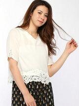 裾袖レース衿装飾5分袖ブラウス
