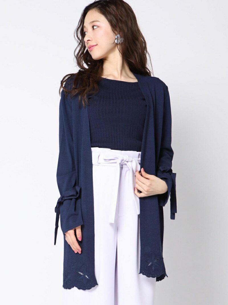 【SALE/30%OFF】QUEENS COURT 裾刺繍ロングカーディガン クイーンズコート ニット【RBA_S】【RBA_E】【送料無料】