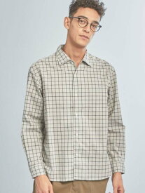 UNITED ARROWS green label relaxing 【WORKTRIPOUTFITS】OCカラーチェックオープンカラーシャツ ユナイテッドアローズ グリーンレーベルリラクシング シャツ/ブラウス 長袖シャツ ベージュ ネイビー【送料無料】