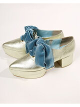 ribbon oxford shoes Velvet(Darkcyan)