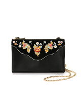 EMBROIDERY FLORAL CHAIN CLUTCH
